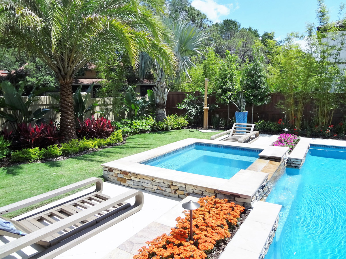 Pool landscaping by BLG Environmental Services in Longwood, Florida
